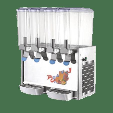 מכונת מיץ מקצועית בעלת 4 תאים בנפח של 8 ליטרים כל אחד, בצבע כסוף ובעלת כדים שקופים